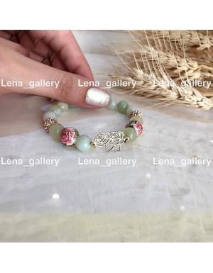 دستبند طرح دو گل رز