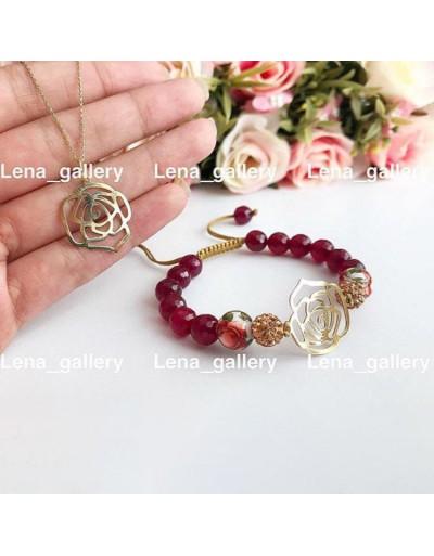 دستبند-و-گردنی-طرح-گل