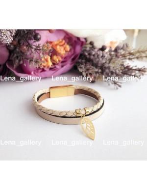 دستبند طرح برگ پاييزی با سنگ های اونيكس مشكی