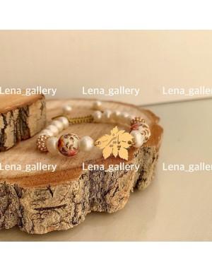 دستبند طرح برگ پاییزی