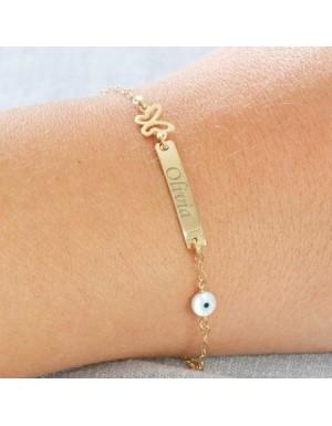 دستبند-طرح-مستطيل-با-پروانه-و-چشم-نظر-
