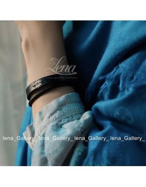دستبند طرح دختر پاپيونی با سنگ های حديد